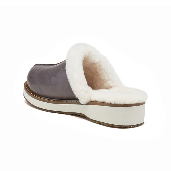 SUPPER SLIPPER GREY LEATHER