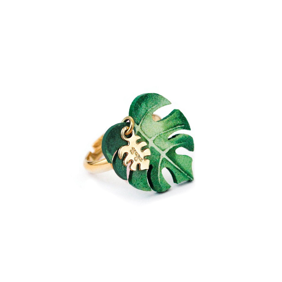 LULI Art Bijoux - anello con foglia monstera
