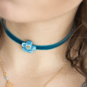 FLOWER VELVET - 2 in 1 <br /> Anemone Turchese - Luli Art Bijoux