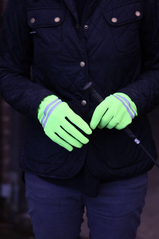 Riding Gloves Adult Fleece Grip - Hi Viz Hi Vis