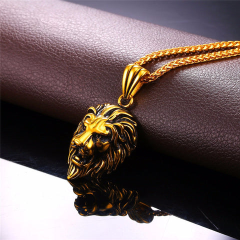 Gold Plated Steel Lion Pendant Necklace