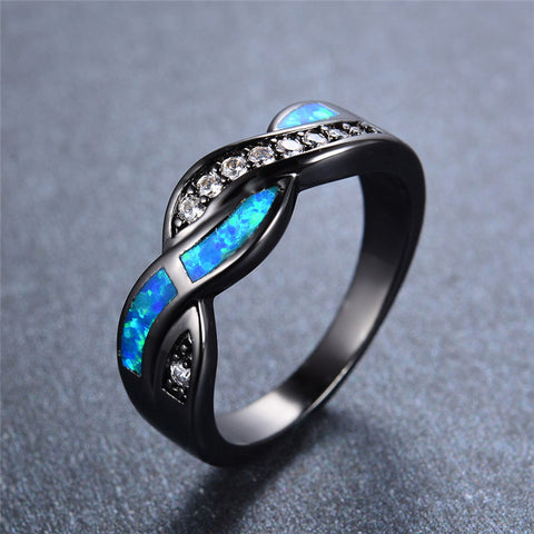Black Gold Filled Ring with Blue Opal & Diamond