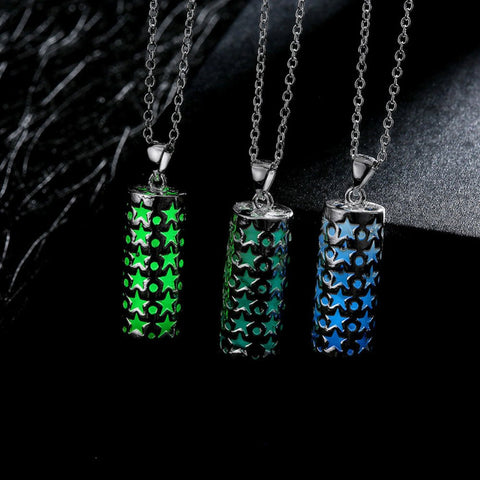 Luminous Hollow Pillar Alloy Pendant Necklace