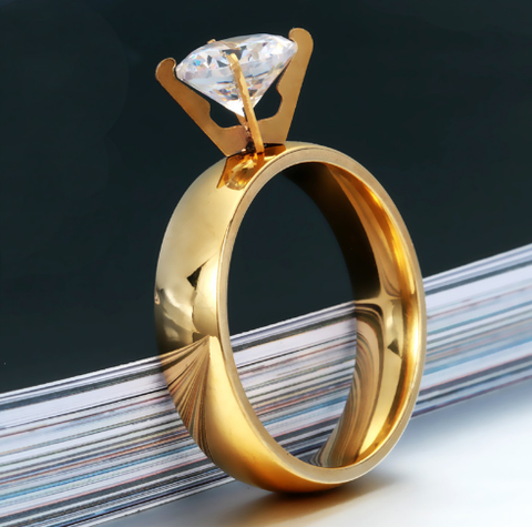 Luxury Gold Plated Engagement Ring with CZ Crystal
