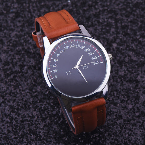 Speedometer Style Faux Leather Quartz Watch