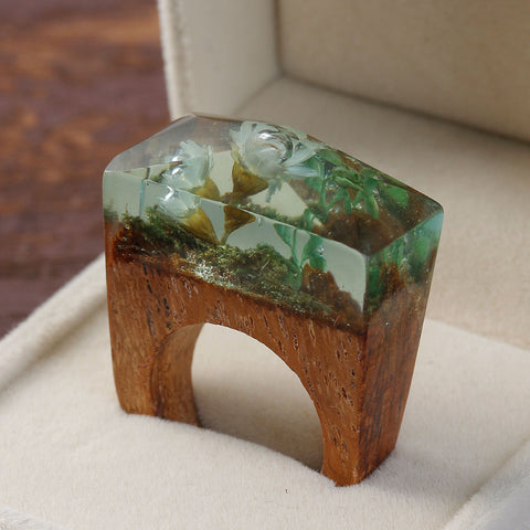 Blossom Flower Handcarved Wooden 'Magical World' Ring