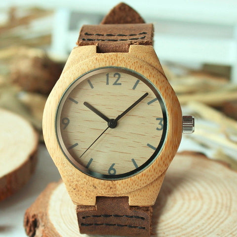 Womens' Bamboo Wood Watch with Genuine Leather Band