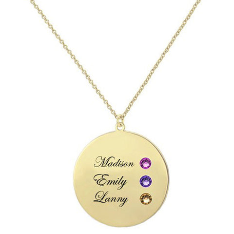 Disc Pendant Necklace with Exquisite Birthstone - Customized