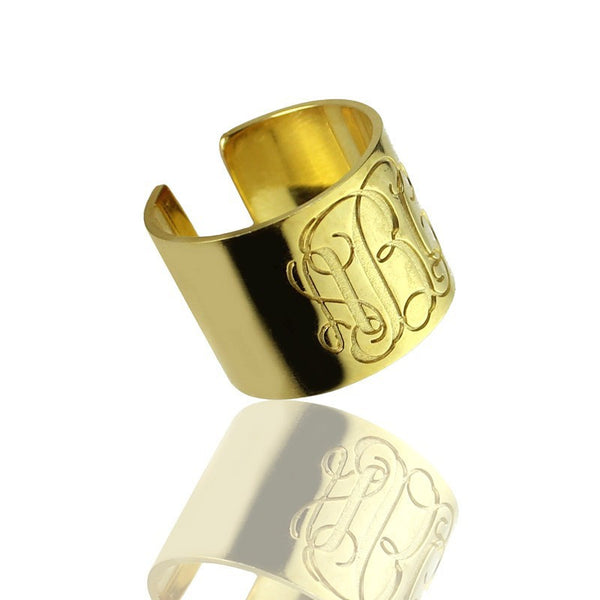 Personalized Gold Plated Monogram Ring