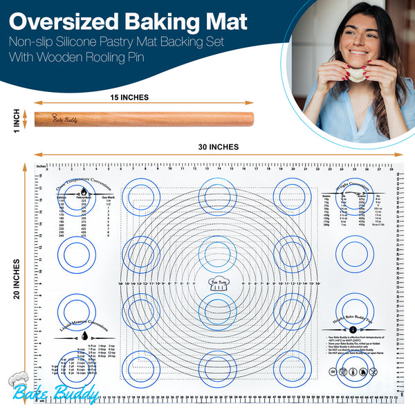 "Bake Buddy Jumbo Bake Buddy Baking Set - Baking Mat Size(20""x30"") - The Bake Buddy"