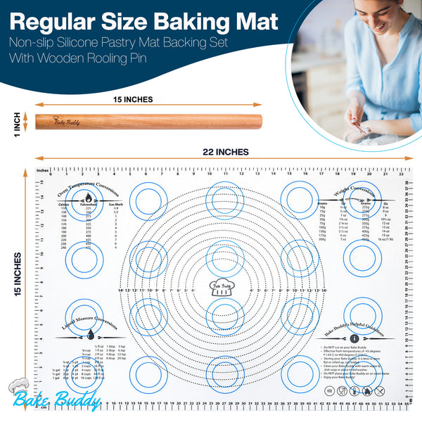 Bake Buddy Baking Supplies, Non-Stick Silicone Baking Mats, Regular Mat Size 15x22 Inches, Baking Set Includes Silicone Mat and Wooden Rolling Pin - The Bake Buddy