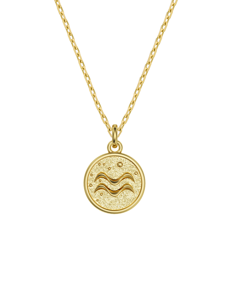 14k / 18k Aquarius Zodiac Necklace