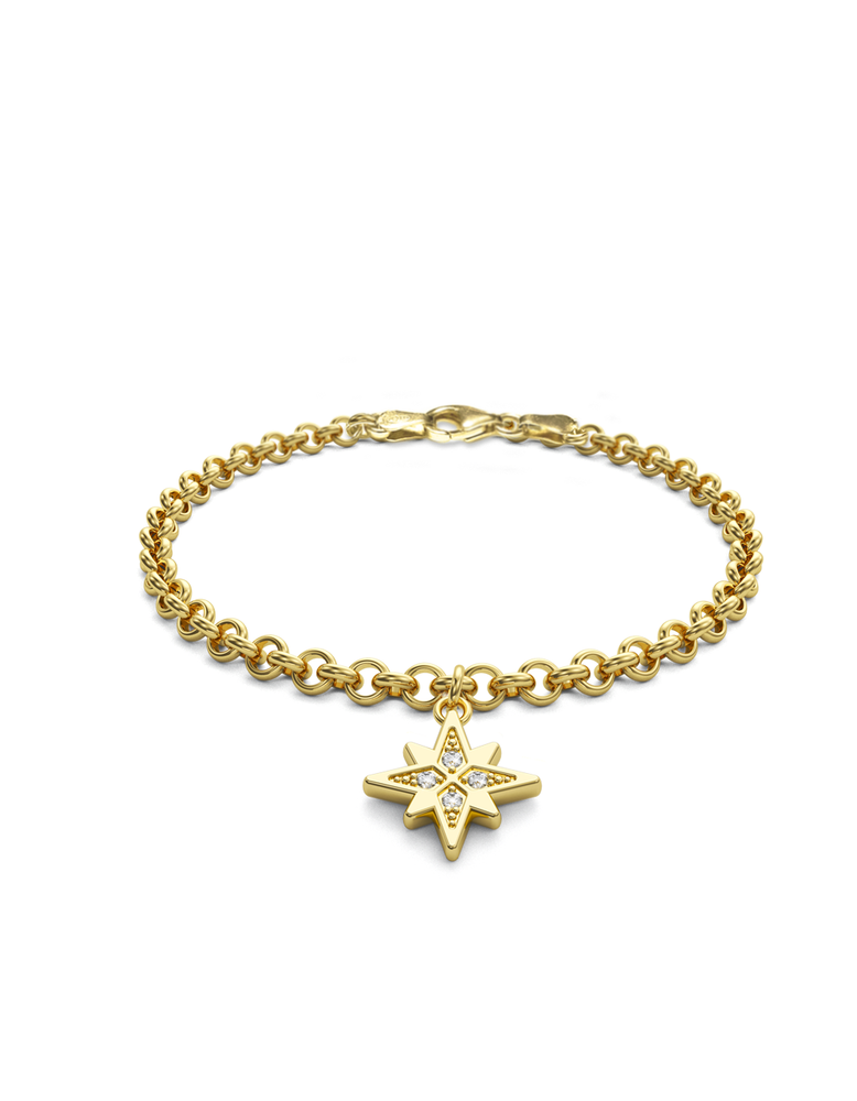 Diamond Morning Star Charmer Bracelet 14k Gold