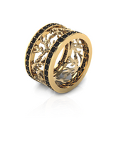 Sparkly Coral Pattern Ring Gold Vermeil & Black