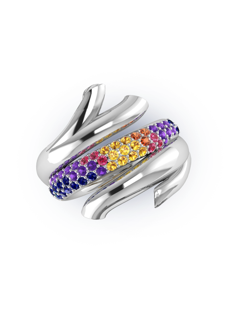 Multi Glowing Coral Love Branch Ring