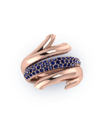 Glowing Coral Love Branch Sparkly Ring
