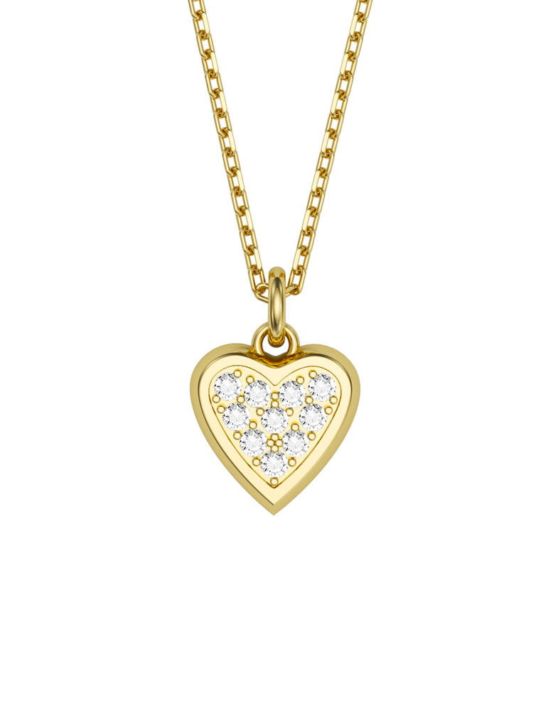 Diamond Heart Charmer Necklace 14k Gold