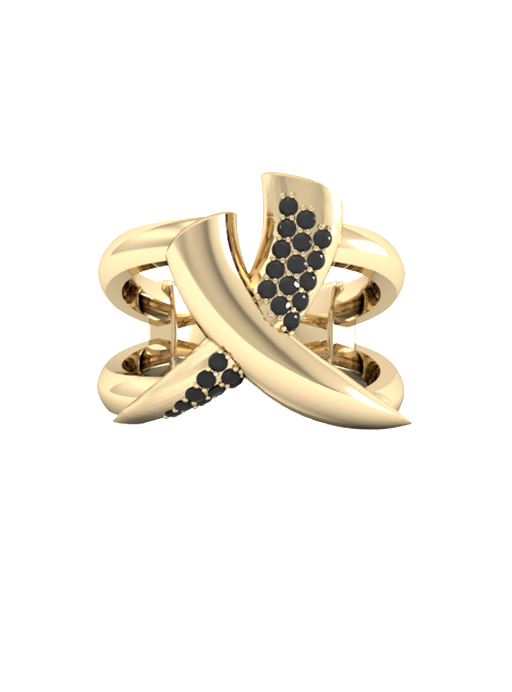Sparkly Tusk Ring Black & Gold Vermeil