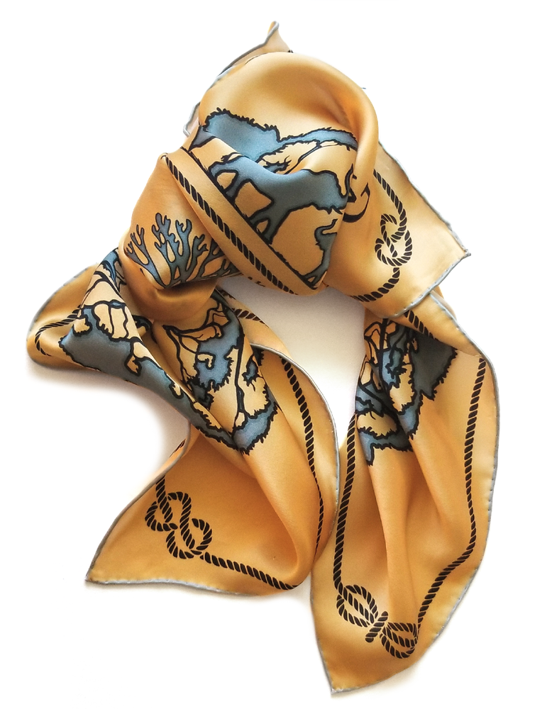 Golden Sand Tied Together for Common Ground - 100% Silk Scarf