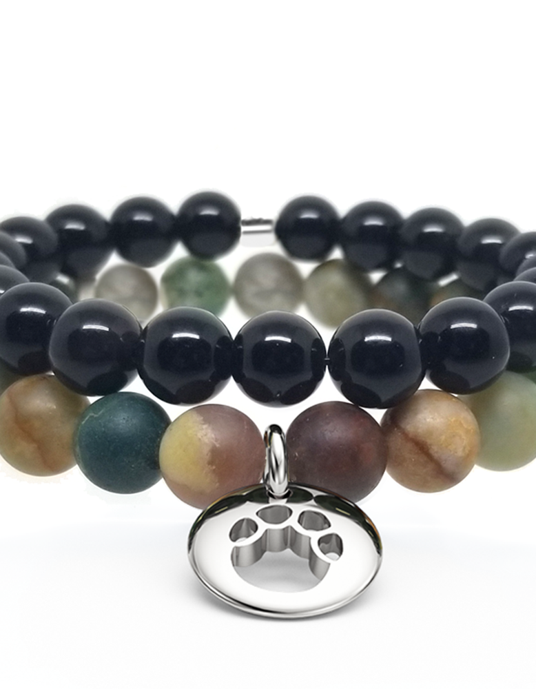 Elephant Print Gemstone Bracelet Set