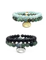 Sea Turtle Track Gemstone Bracelet Set