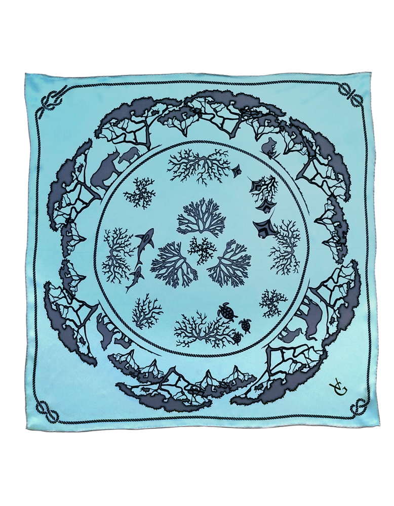 Aqua Tied Together for Common Ground - 100% Silk Scarf