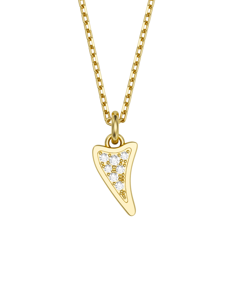 Diamond Shark Charmer Necklace 14k Gold