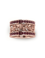 Rose Vermeil Sparkly Coral Lace Pattern Ring