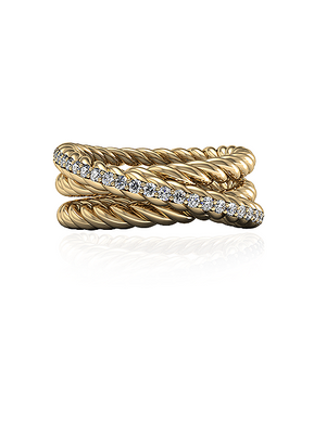 Triple Rope Ring Gold Vermeil & White