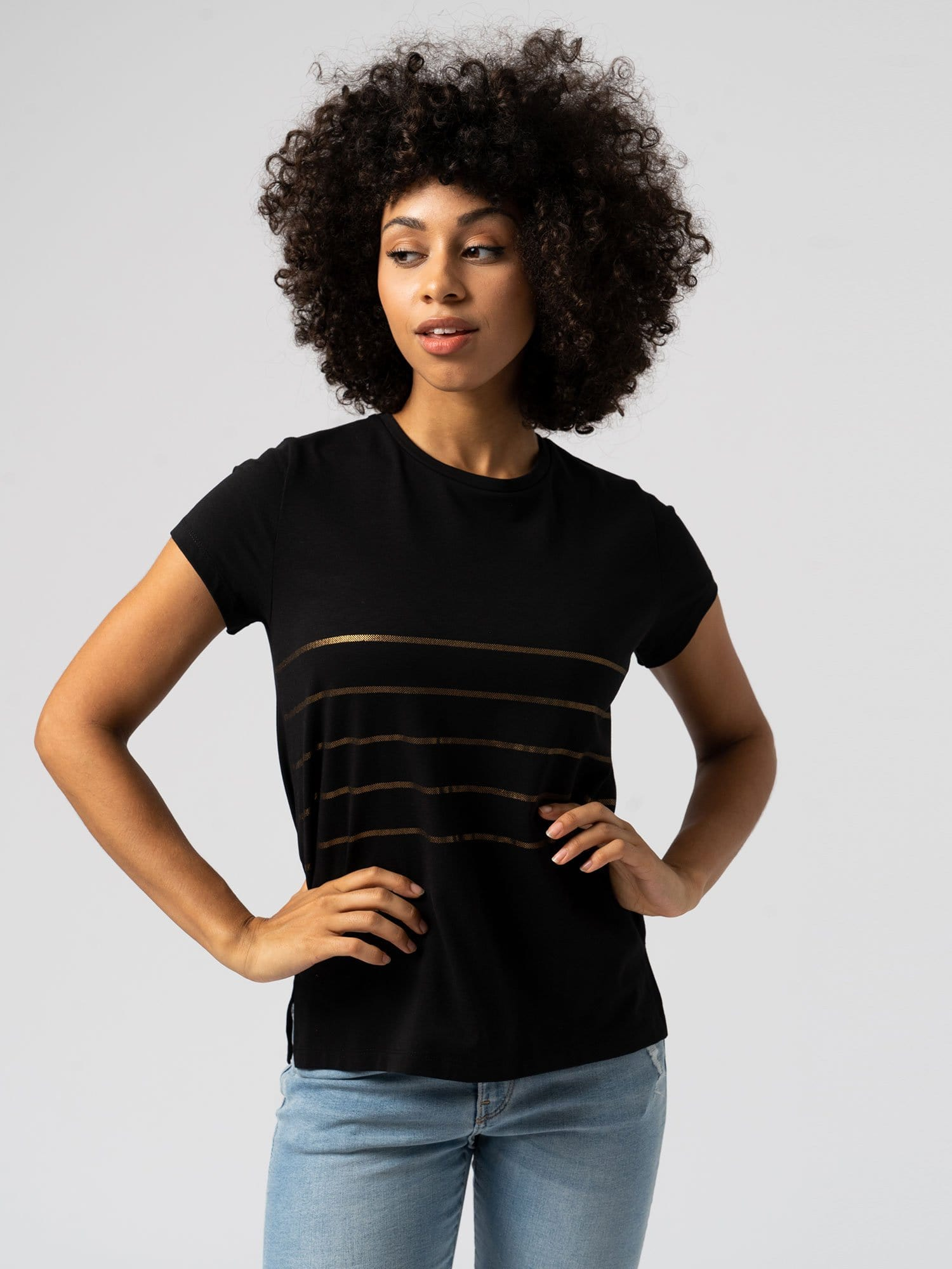 Easy Tee Stripe Black
