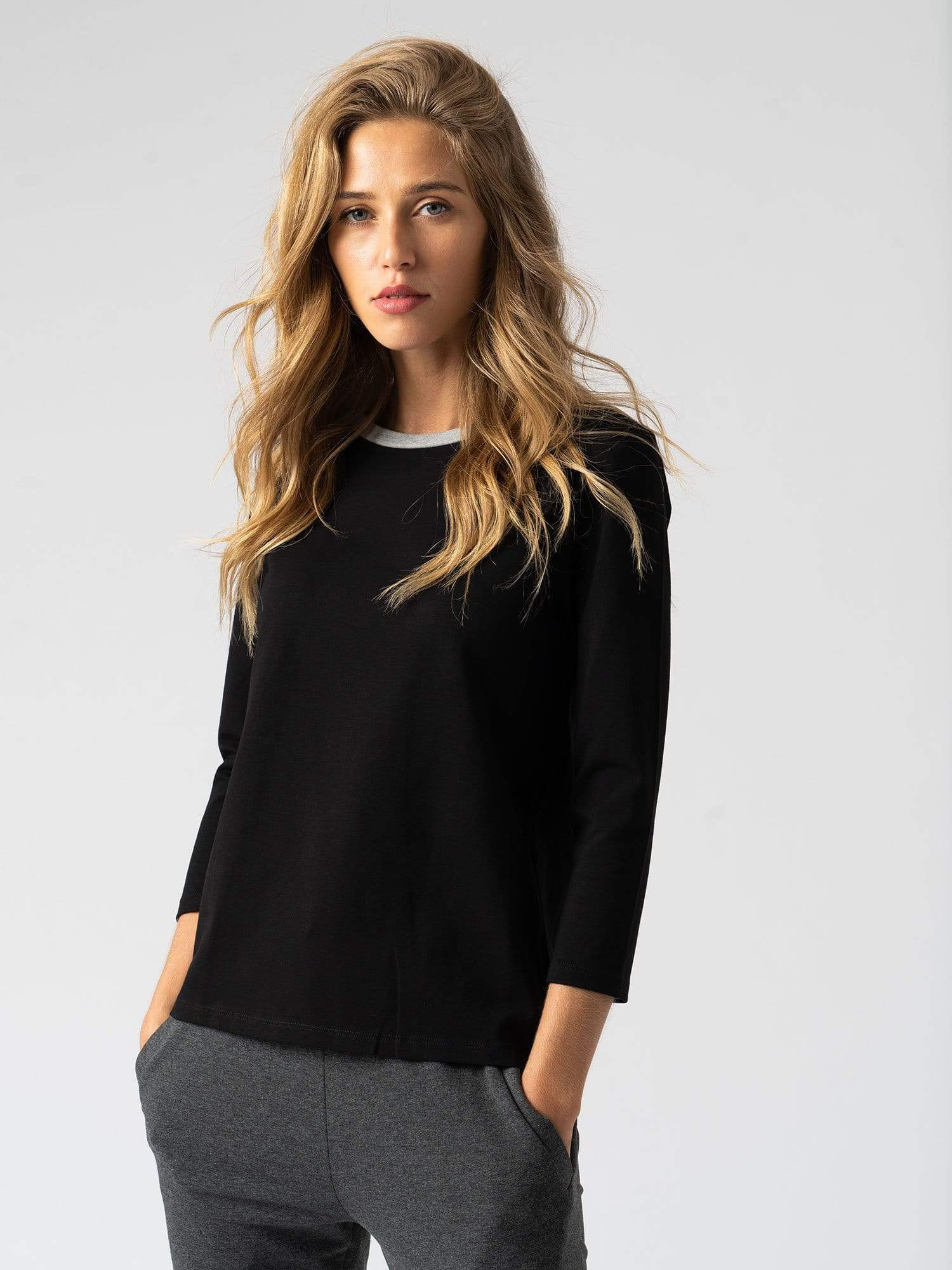 Contrast Cotton Sweater - Black