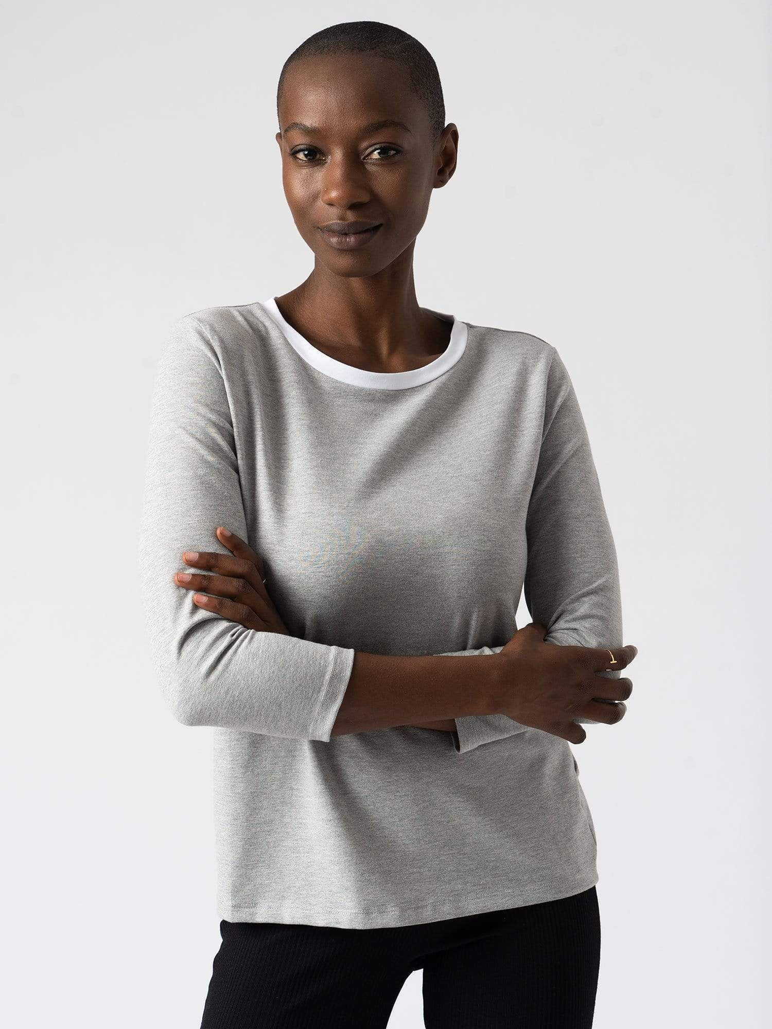 Contrast Cotton Sweater - Grey
