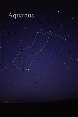 The Aquarius zodiac constellation in the night sky.