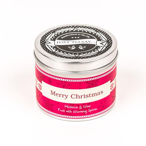 Mistletoe and mulled wine Merry Christmas scented candle by Happy Piranha.