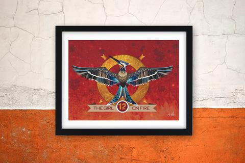 Girl on Fire - Hunger Games Mockinjay Art Print by Happy Piranha