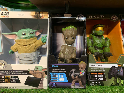 Yoda, Groot and Master chief controller holders at Happy Piranha Truro