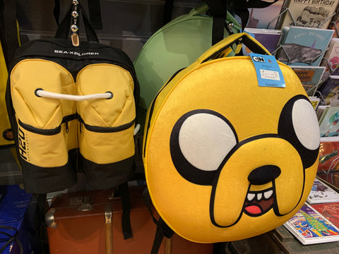 Adventure Time and scuba diver backpacks at Happy Piranha Truro