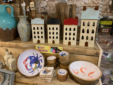 Nautical bowls and cottage tealight holders at Happy Piranha Truro