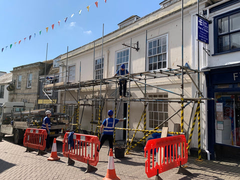 The team at AA Scaffolding erecting the Scaffolding outside the Pydar Street games café project in Truro, Cornwall.