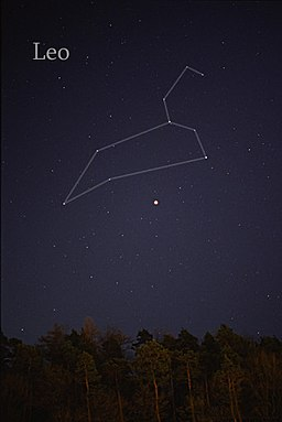 The Leo constellation in the night sky.
