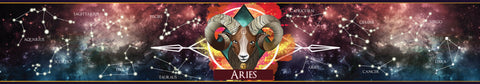 Aries Zodiac star sign scented candle label design | Happy Piranha.