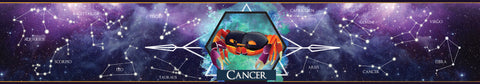 Cancer zodiac star sign scented candle label design | Happy Piranha.