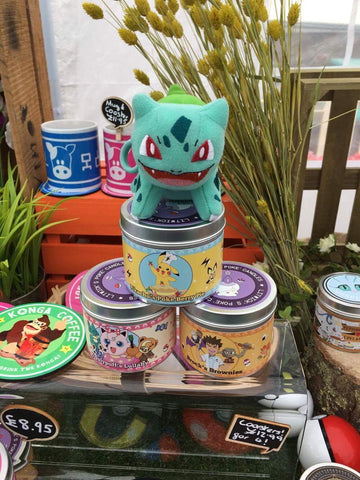 Bulbasaur on some Happy Piranha Pokemon inspired scented candles