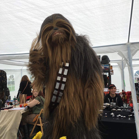 Chewbacca saying hi to Happy Piranha at Exmouth Comiccon