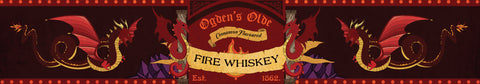 Ogden's fire whiskey Harry Potter inspired scented candle label design | Happy Piranha.