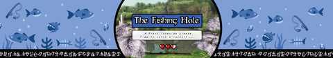 The Fishing Hole Zelda inspired scented candle label design by Happy Piranha.