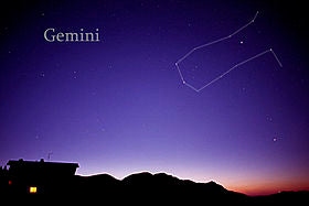 The Gemini star sign constellation in the night sky.