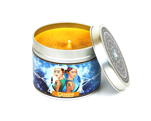 Gemini zodiac scented candle - mint, lemon and honeysuckle | Happy Piranha