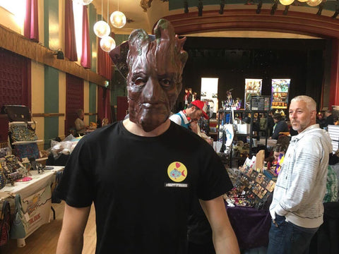 Josh from Happy Piranha wearing a Groot mask