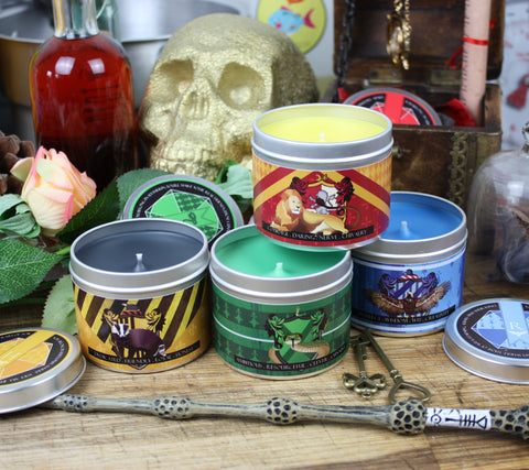 The Hogwarts Houses scented candles by Happy Piranha inspired by Harry Potter